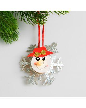 Набор для создания новогодней подвески со светом «Снеговик с бантиком» арт. СМЛ-15998-1-СМЛ3925202