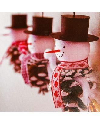 Набор для создания подвесной елочной игрушки из шишек «Снеговички» арт. СМЛ-16051-1-СМЛ3925255