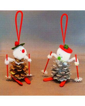 Набор для создания подвесной елочной игрушки из шишек «Снеговики на лыжах», набор 4 шт. арт. СМЛ-16056-1-СМЛ3925260