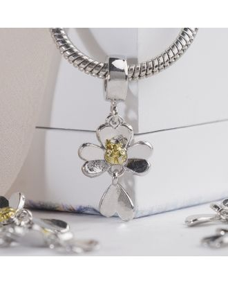 """Подвеска """"Цветок с подвеской"""", цв.серебряно-золотой арт. СМЛ-16243-1-СМЛ3937529"""