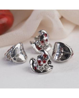 """Талисман """"Волшебная шляпа"""", цв.красно-белый в серебре арт. СМЛ-16244-1-СМЛ3937535"""