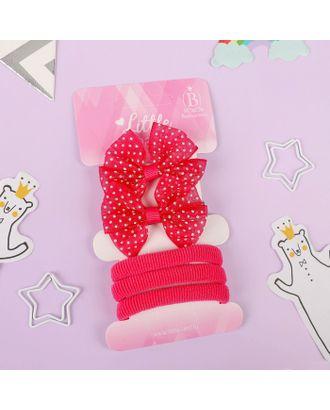 """Набор для волос """"Карапунька"""" (2 зажима, 3 резинки) полосатый бантик розовый арт. СМЛ-23772-3-СМЛ3937875"""