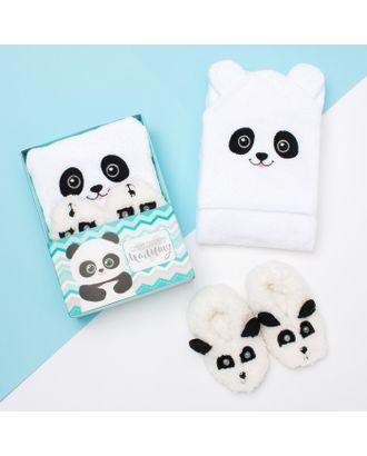 """Набор """"Панда"""", махровое полотенце с капюшоном 85*85 см, следки 18 см арт. СМЛ-16306-1-СМЛ3942696"""