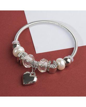 """Браслет с жемчугом """"Марджери"""" сердце, цвет белый в серебре арт. СМЛ-29184-1-СМЛ3947286"""