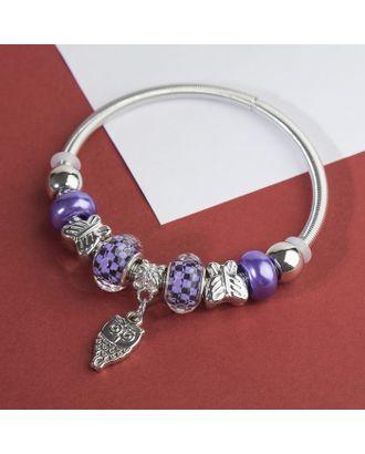 """Браслет ассорти """"Марджери"""" сова, цвет фиолетово-чёрный в серебре арт. СМЛ-29182-1-СМЛ3947290"""