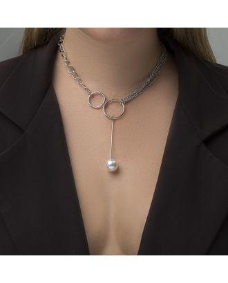 """Колье с жемчугом """"Звено"""", цвет белый в серебре, 32 см арт. СМЛ-26682-1-СМЛ3950255"""