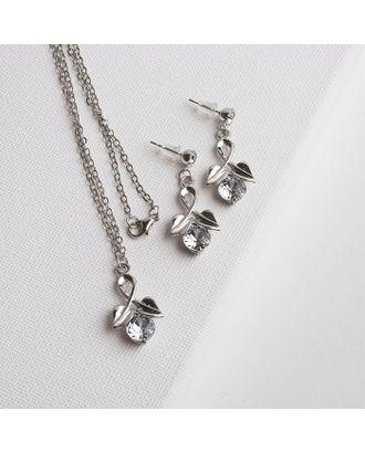 """Гарнитур 2 предмета: серьги, кулон """"Мираж"""" бутон, цвет МИКС в серебре, 43 см арт. СМЛ-16467-1-СМЛ3953459"""
