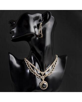 """Набор 2 предмета: серьги, колье """"Феникс"""" круг, цвет бело-чёрный в золоте арт. СМЛ-16480-1-СМЛ3953475"""
