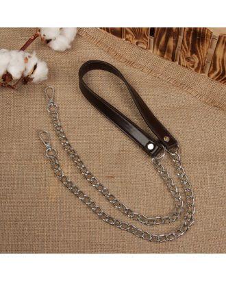 Ручка для сумки, кожаная, с цепочками и карабинами, 120х1,8 см арт. СМЛ-23615-4-СМЛ3958359