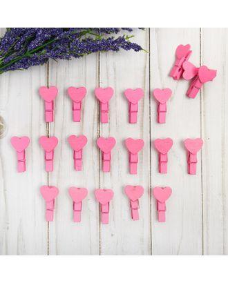 """Набор декоративных прищепок """"Сердечки"""" розовые, набор 20 шт. арт. СМЛ-16595-1-СМЛ3958871"""