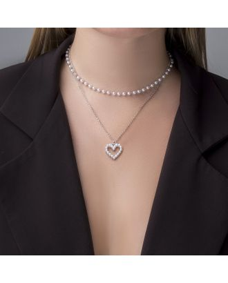 """Колье с жемчугом """"Олимпия"""" сердце, цвет белый в серебре, 40 см арт. СМЛ-28031-1-СМЛ3961211"""