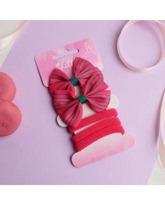 """Набор для волос """"Карапунька"""" (2 зажима, 3 резинки) полосатый бантик розовый арт. СМЛ-23772-1-СМЛ3964718"""