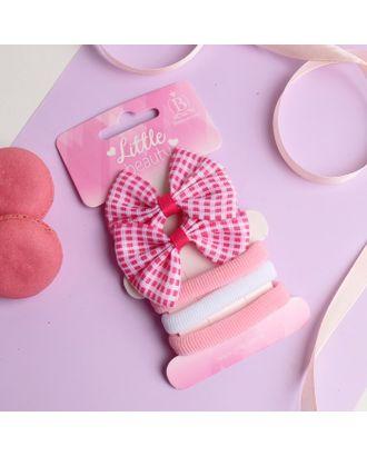 """Набор для волос """"Карапунька"""" (2 зажима, 3 резинки) полосатый бантик розовый арт. СМЛ-23772-2-СМЛ3964720"""