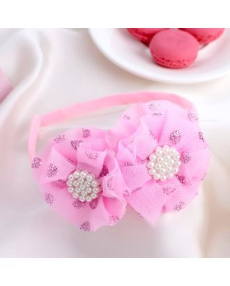 """Ободок для волос """"Малышка"""" 1 см двойной бант, блеск, розовый арт. СМЛ-17063-1-СМЛ3974673"""