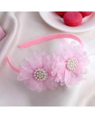 """Ободок для волос """"Малышка"""" 1 см двойной бант, розовый арт. СМЛ-17081-1-СМЛ3974859"""