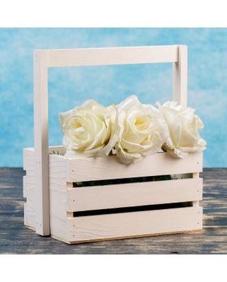 """Кашпо деревянное 20×15×11(25) см """"Флория"""", с ручкой, белый Дарим Красиво арт. СМЛ-121040-1-СМЛ0003976239"""