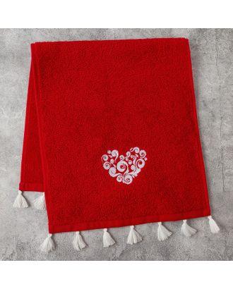 Полотенце махровое Этель «Любовь» 30×60 см бордо, 100% хлопок, 340 г/м² арт. СМЛ-17316-1-СМЛ3988137