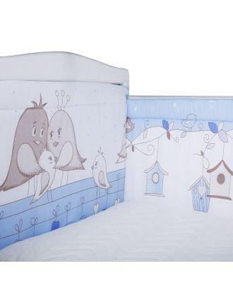 Бортик в кроватку «Птички», размер 40х360 см, цвет голубой, бязь арт. СМЛ-32107-1-СМЛ3988242