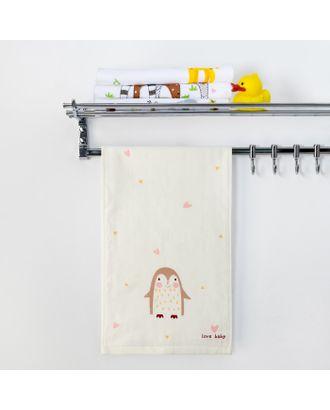 """Полотенце двухстороннее Крошка Я  """"Пингвинчик""""цв.серый 25 х 50 см, 100% хлопок арт. СМЛ-17464-1-СМЛ3999164"""