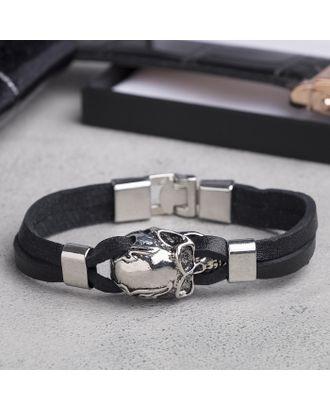 """Браслет мужской """"Яд"""", цвет чёрный в серебре арт. СМЛ-17546-1-СМЛ4001638"""
