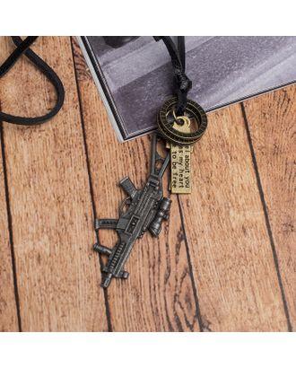 """Кулон мужской """"Резон"""" автомат, цвет чернёное серебро на чёрном шнурке, 80 см арт. СМЛ-17636-1-СМЛ4003246"""