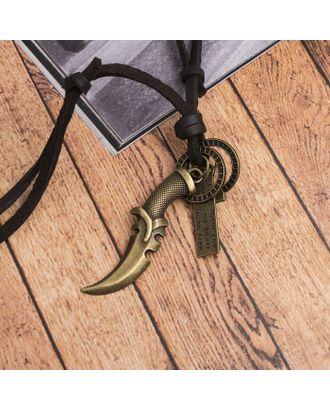 """Кулон мужской """"Резон"""" автомат, цвет чернёное золото с медью на корич шнурке, 80 см арт. СМЛ-17637-1-СМЛ4003248"""