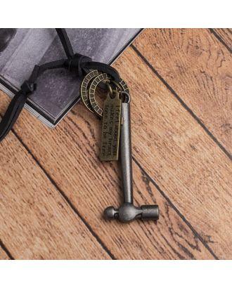 """Кулон мужской """"Резон"""" автомат, цвет черное серебро на чёрном шнурке, 80 см арт. СМЛ-17638-1-СМЛ4003249"""