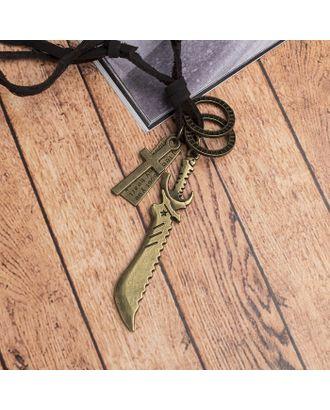 """Кулон мужской """"Резон"""" автомат, цвет чернёное золото на коричневом шнурке, 80 см арт. СМЛ-17639-1-СМЛ4003250"""