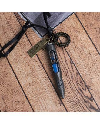 """Кулон мужской """"Резон"""" автомат, цвет чернёное серебро на чёрном шнурке, 80 см арт. СМЛ-17640-1-СМЛ4003251"""