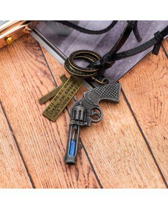 """Кулон мужской """"Резон"""" автомат, цвет чернёное серебро на коричневом шнурке, 80 см арт. СМЛ-17641-1-СМЛ4003253"""