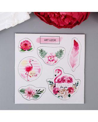 """Чипборд для скрапбукинга """"Розовый фламинго в цветах"""" 10х10 см арт. СМЛ-17677-1-СМЛ4006386"""