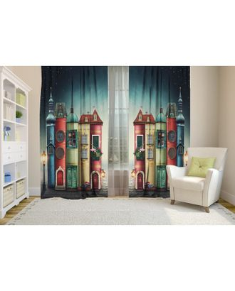 Комплект штор Разноцветные домики, 147х267 +/- 3см 2шт, габардин, п/э100% арт. СМЛ-17823-1-СМЛ4016879