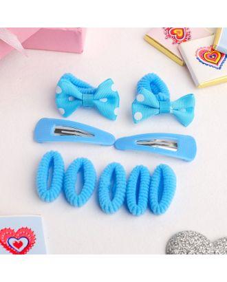 """Набор для волос """"Софи"""" (7 резинок, 2 невидимки) бантики в горошек, голубой арт. СМЛ-17877-1-СМЛ4018218"""