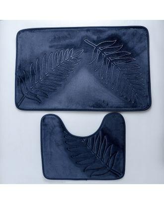 "Набор ковриков для ванны и туалета 2 шт 40х50, 50х80 см ""Тропики"" цвет синий арт. СМЛ-30395-1-СМЛ4039224"