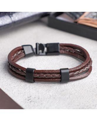 """Браслет мужской """"Величие"""", цвет коричневый в чернёном металле арт. СМЛ-18543-1-СМЛ4053700"""