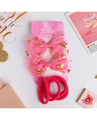 """Набор для волос """"Малышка"""" (2 зажима, 4 резинки) бантики сердечки, малиновый арт. СМЛ-18666-1-СМЛ4061960"""