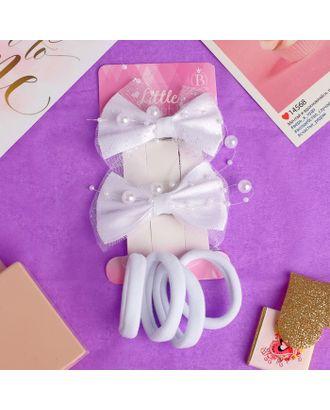 """Набор для волос """"Малышка"""" (2 зажима, 4 резинки) бусинки, белый арт. СМЛ-18667-1-СМЛ4061961"""