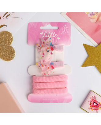"""Набор для волос """"Ассоль"""" (2 зажима 3,5 см, 3 резинки)  единороги, розовый арт. СМЛ-18668-1-СМЛ4061986"""
