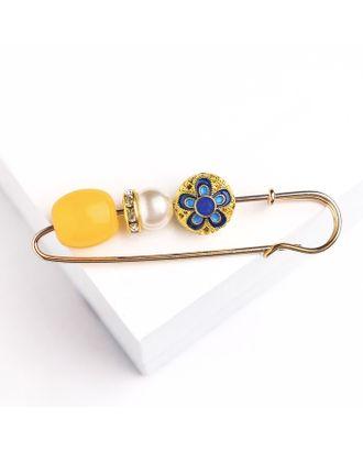 """Булавка """"Цветок"""" Марокко, 7см, цветная в золоте арт. СМЛ-18792-1-СМЛ4070885"""