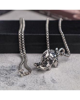 """Мужской кулон, """"Викинг"""" мамонт, чернёное серебро, 60 см арт. СМЛ-18796-1-СМЛ4070889"""