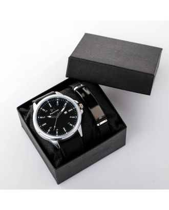 """Подарочный набор 2 в 1 """"Летчер"""": наручные часы и браслет арт. СМЛ-19167-1-СМЛ4089751"""