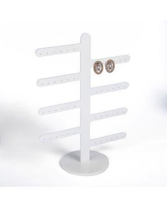 Подставка под серьги 8 ответвлений (по 3 пары), цвет белый 10*22*30 арт. СМЛ-19206-1-СМЛ4094479