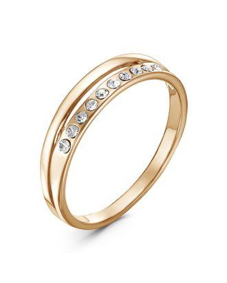 """Кольцо """"Половинка"""", позолота, цвет белый, 16,5 размер арт. СМЛ-30064-1-СМЛ4100949"""