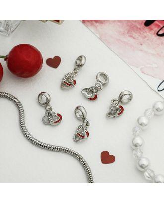 """Подвеска """"Парные сердца"""", цвет красно-белый в серебре арт. СМЛ-121098-1-СМЛ0004102853"""