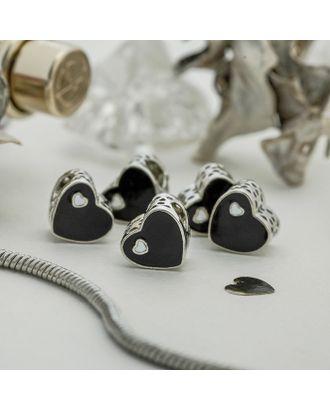 """Талисман """"Сердце"""", цвет черный в серебре арт. СМЛ-121097-1-СМЛ0004102860"""