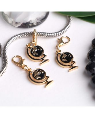 """Шарм """"Глобус"""", цв.черный в золоте арт. СМЛ-19312-1-СМЛ4103778"""