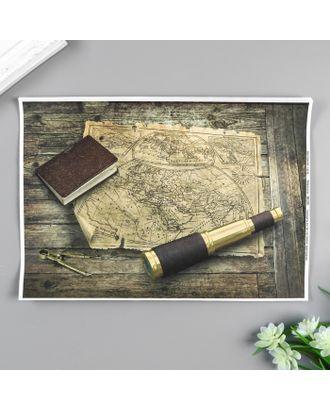 """Декупажная карта """"Карта путешественника"""" формат А4, плотность  45г/м21 арт. СМЛ-30110-1-СМЛ4108963"""