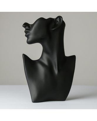 Бюст для украшений, пол-лица, отверстие под серьгу, 18*5*26, цвет чёрный арт. СМЛ-19428-1-СМЛ4110887