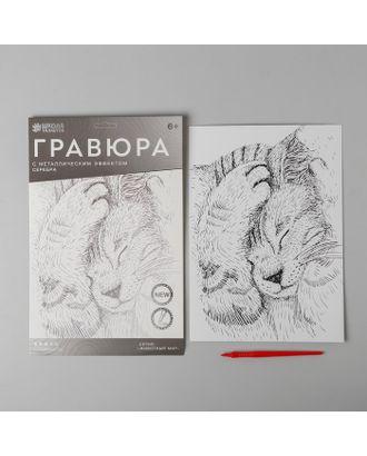 """Гравюра """"Спящий котенок"""" A4, с металлическим серебряным эффектом арт. СМЛ-19454-1-СМЛ4110942"""