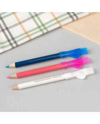 Карандаш для ткани с щеткой, 3 шт, цвет белый, розовый, синий арт. СМЛ-26987-1-СМЛ4121629